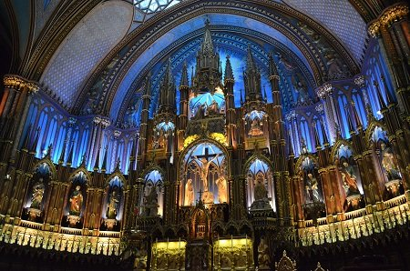 Inside of the Notre Dame Basilica in Montreal.