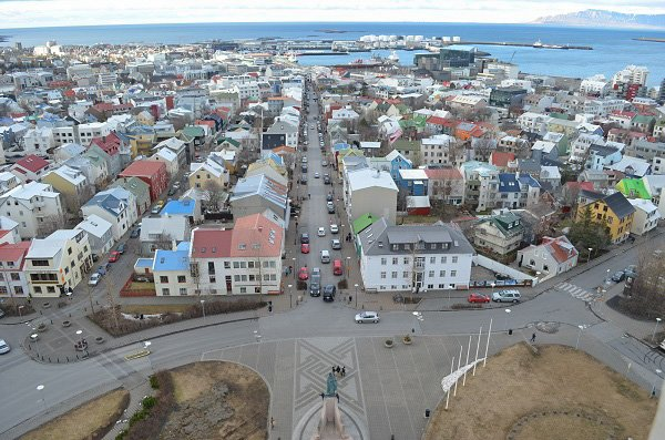 View from the Hallgrímskirkja church in Reykjavik.