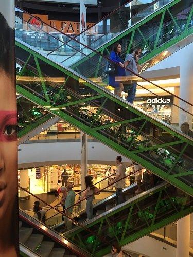The escalators at the Złote Tarasy mall are a work of art.