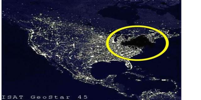 Região do Canadá e dos EUA atingida pelo terrível blackout de 1965