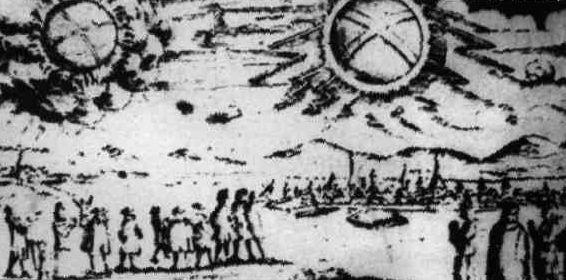 Dois objetos voadores gigantescos vistos pelos habitantes das cidades de Mecklenburgo e Hamburgo, Alemanha, em 4 de novembro de 1697
