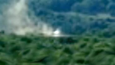 Foto de uma nave caída em uma floresta em Lyon, França, em agosto de 2013