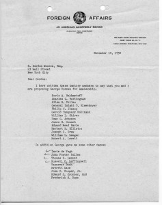 Gordon Wasson nominates George Kennan and John Foster Dulles to the Century Club. Foreign Affairs (CFR) letter head.