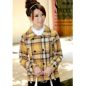 women-coat-wholesale-fashion-plaid-double-breasted-sho