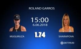 Ponturi Tenis - Muguruza - Sharapova - Roland Garros - 06.06.2018