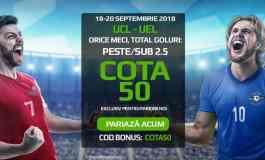 Pariaza la cota 50.00 pe orice meci din UCL sau EL (18-20 septembrie)