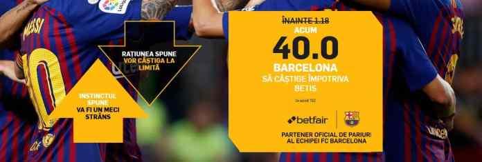 Barcelona vs Betis: mizeaza 5 ron si ai toate sansele sa incasezi 200 ron