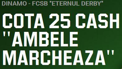 Dinamo vs FCSB: Incaseaza 250 ron cash cu un pariu de 10 ron!