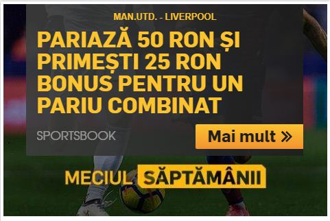 Manchester United vs Liverpool iti aduce un bonus de 25 ron!