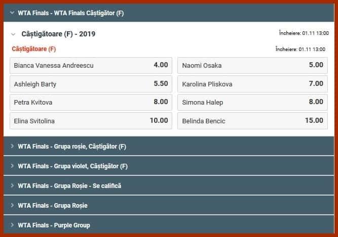 cote pariuri WTA finals 2019 betano