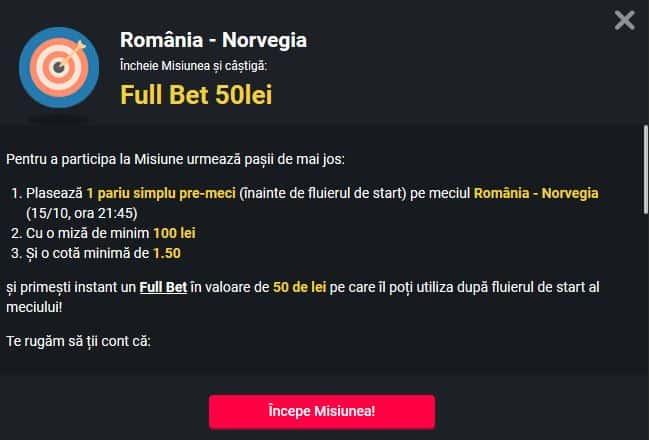 Romania - Norvegia si primesti 50 ron Fullbet