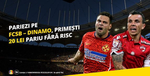 20 RON Freebet la FCSB - Dinamo