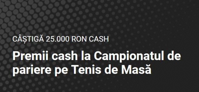 Castiga pana la 25.000 RON la Campionatul de pariere pe Tenis de Masa!