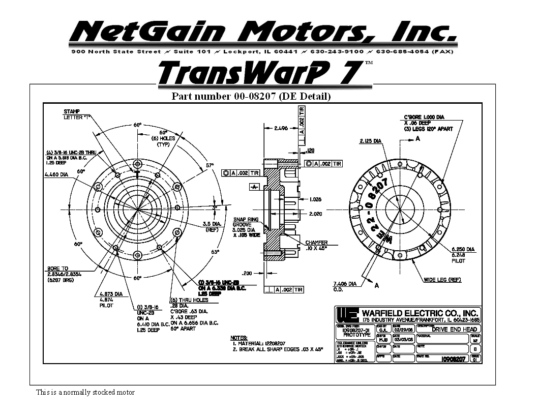 Transwarp 7 Electric Vehicle Motor For Light Vehicle Or