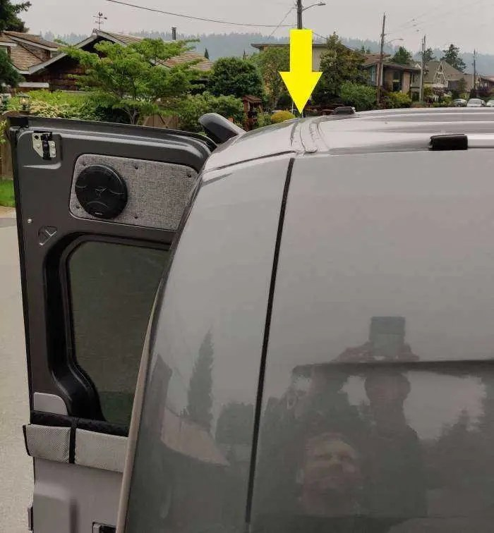 Location of van canopy on roof.