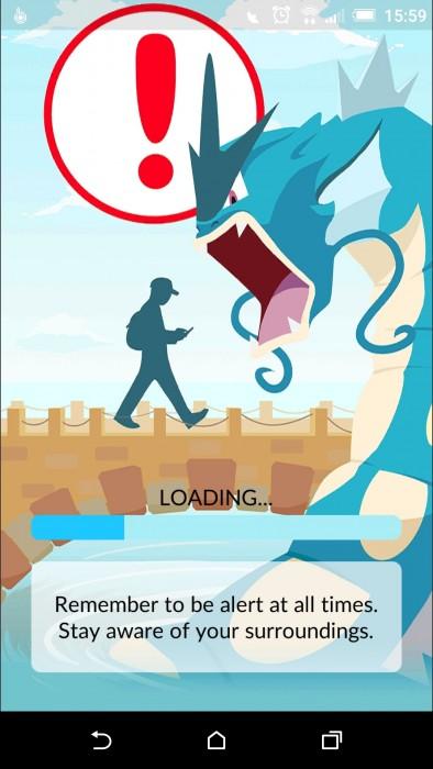 Pokemon go waarschuwing