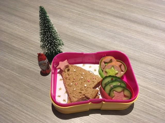 Bento kerst broodtrommel met komkommer