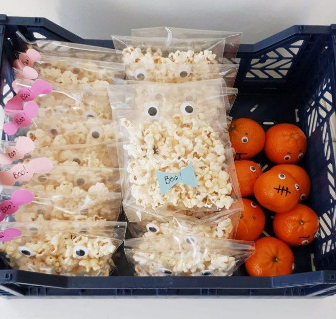 Halloween traktatie popcorn spookje