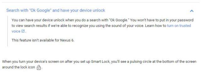 Smart Lock ohne Stimme für das Nexus 6