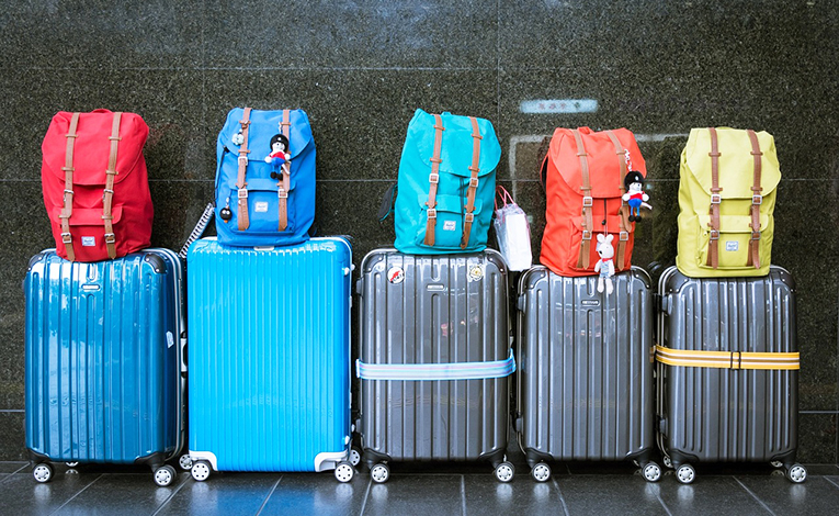 Backpacks and luggages at airport.