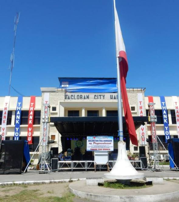 Tacloban City Hall featured thank you banners.