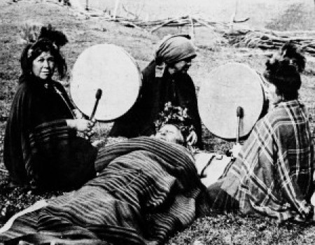 Mapuche medicine woman treating a patient, South Chile