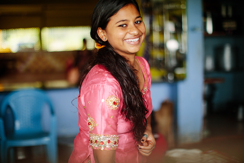 Young girl smiling in India