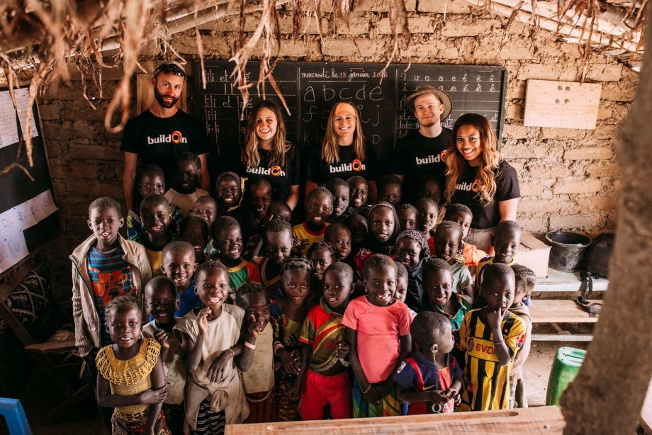 buildOn volunteers with primary school students in Burkina Faso