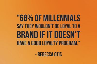 """68% of millennials say they wouldn't be loyal to a brand if it doesn't have a good loyalty program."" - Rebecca Otis"
