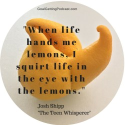 When life hands me lemons , I squirt life in the eye with the lemons. Josh Shipp