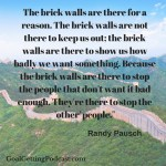 """The brick walls are there for a reason. The brick walls are not there to keep us out; the brick walls are there to show us how badly we want something. Because the brick walls are there to stop the people that don't want it bad enough. They're there to stop the 'other' people."""""""