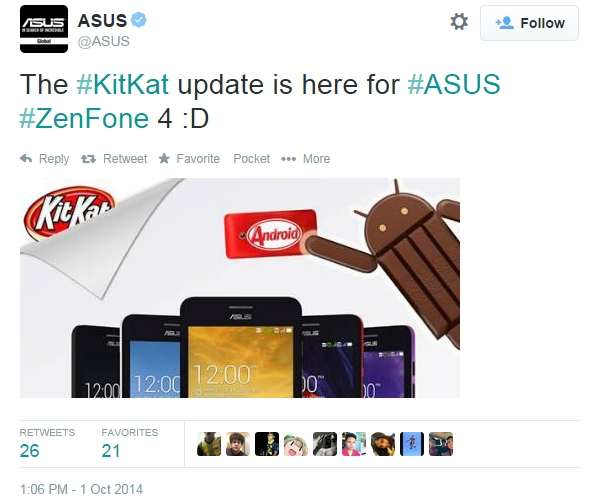 Asus Zenfone 4 get the Android 4.4 Update