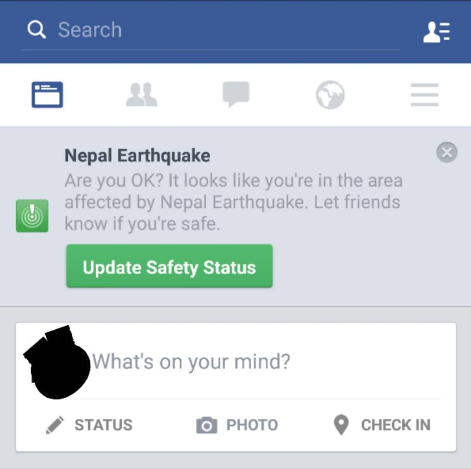 Screenshot of the Facebook Home page of a user in the affected area.