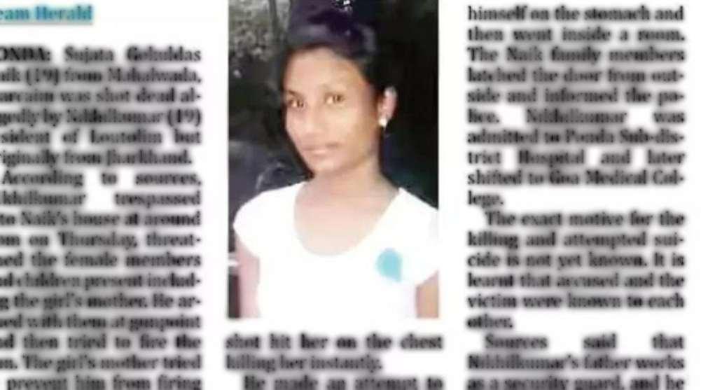 shooting teenage Goan girl place Bihari boy attempts suicide