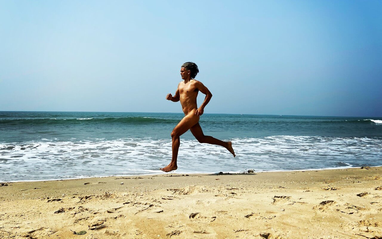 Milind Soman Runs Nude On The Goa Beach