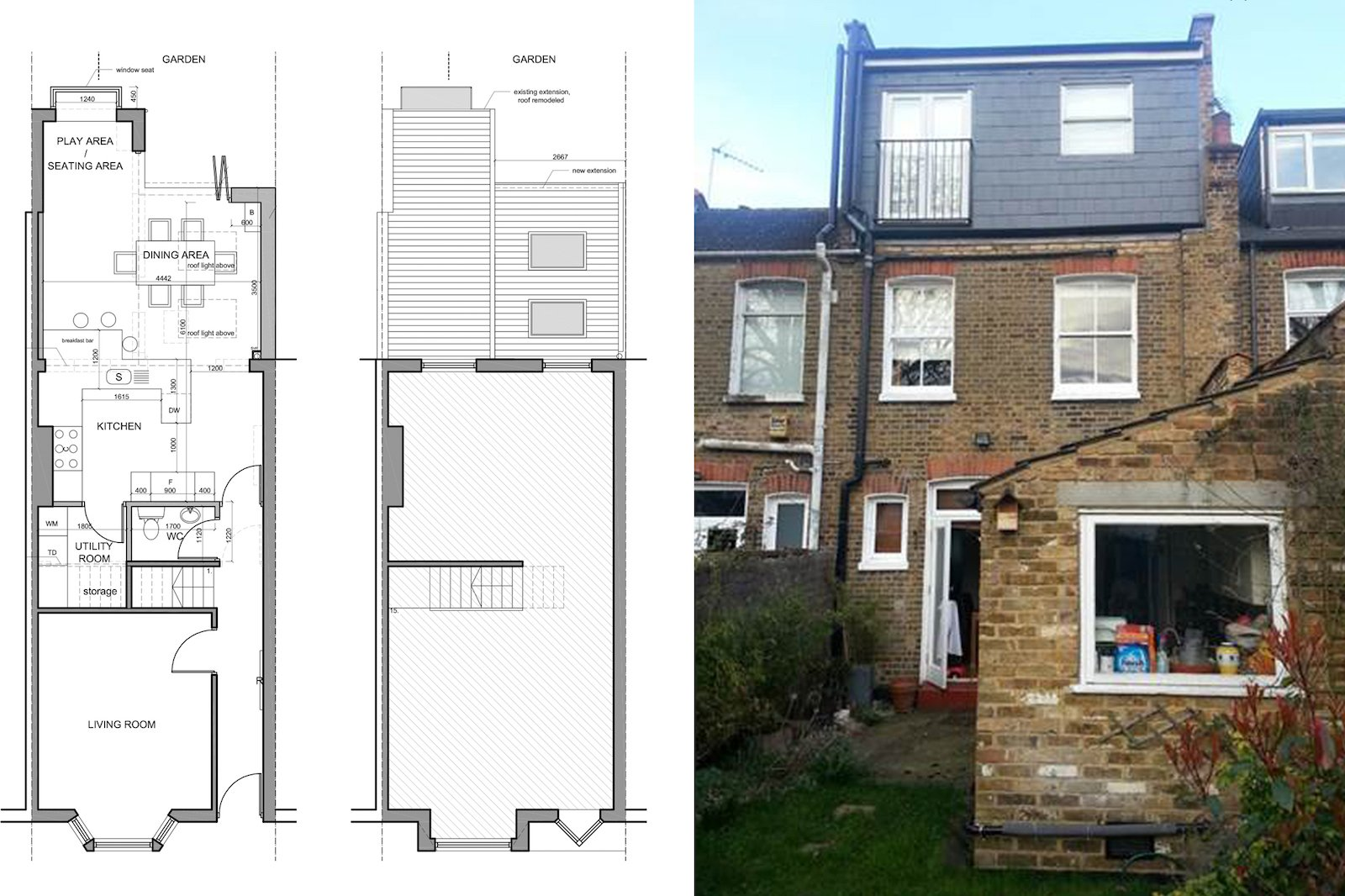 Barnes, Richmond SW14 – Rear house kitchen extension – existing rear ...