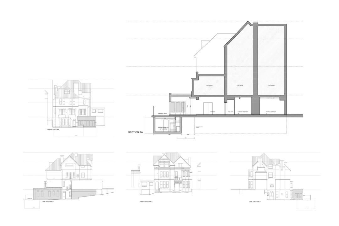 Finchley road Camden NW3 Flat extension Design sections and elevations 1 1200x800 Finchley Road, Camden NW3 | Flat extension