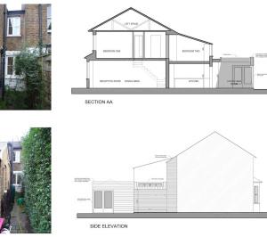 02 St Margarets Richmond TW1 Rear house extension Section and elevation 300x266 St Margarets II, Richmond TW1   House extension
