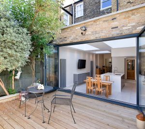 Architect designed Putney Wandsworth SW6 kitchen house extension Connecting to the rear garden 300x266 Putney, Wandsworth SW6 | Kitchen house extension