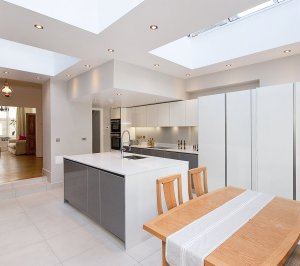 Architect designed Putney Wandsworth SW6 kitchen house extension Open plan layout 300x266 Putney, Wandsworth SW6 | Kitchen house extension