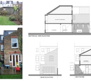 Architect designed Southfields Wandsworth SW18 kitchen house extension Sections and elevations 1 300x266 Southfields, Wandsworth SW18 | Kitchen house extension