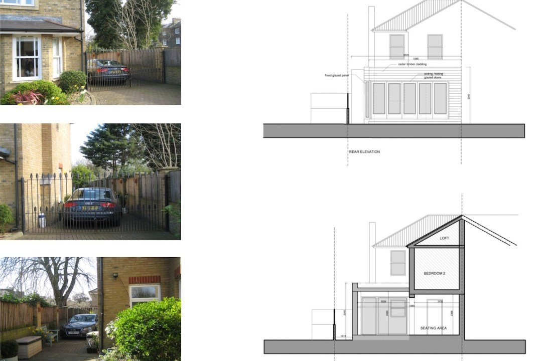 Architect designed house extension Brockley Lewisham SE4 Design section and rear elevation 1200x800 Brockley, Lewisham SE4 | House extension