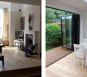 Architect designed house extension East Finchley Barnet N2 Interior spaces 300x266 East Finchley, Barnet N2   House extension