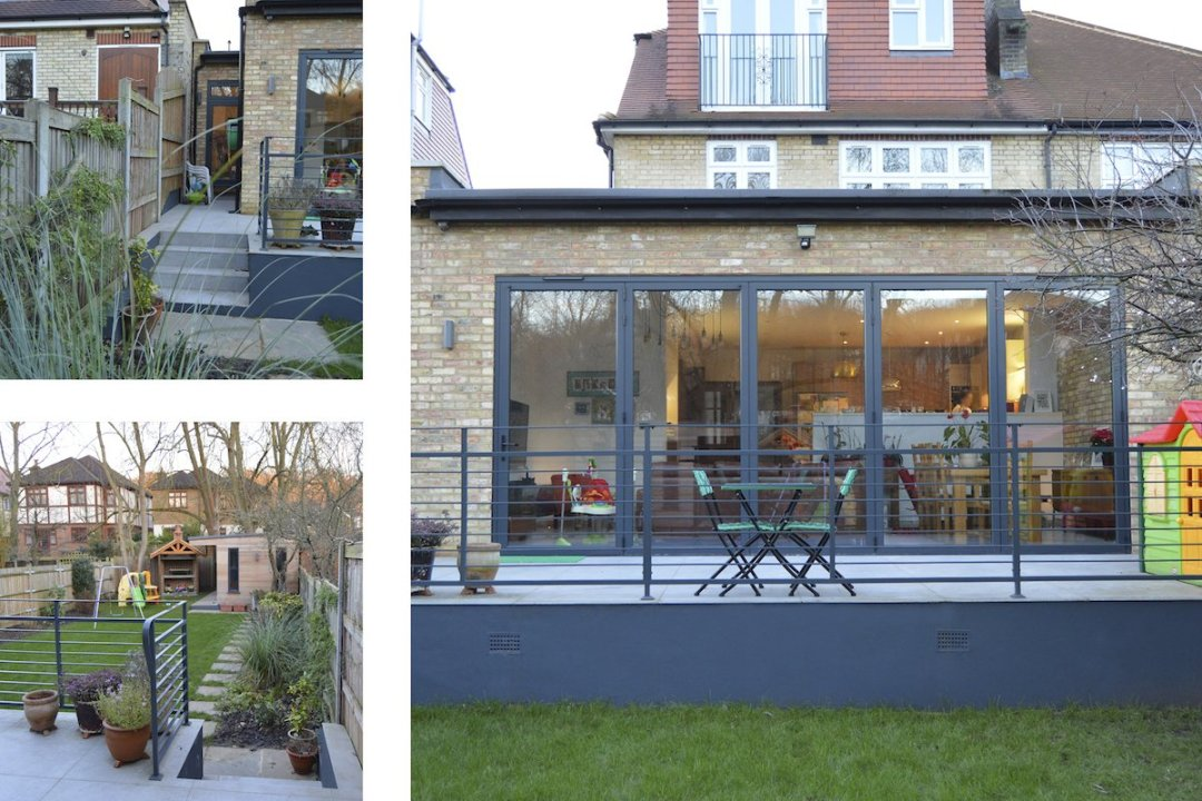 Architect designed house extension Grange Park Enfield N21 Views of the raised terrace 1200x800 Grange Park, Enfield N21 – House extension and alterations
