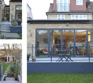 Architect designed house extension Grange Park Enfield N21 Views of the raised terrace 300x266 Grange Park, Enfield N21 – House extension and alterations