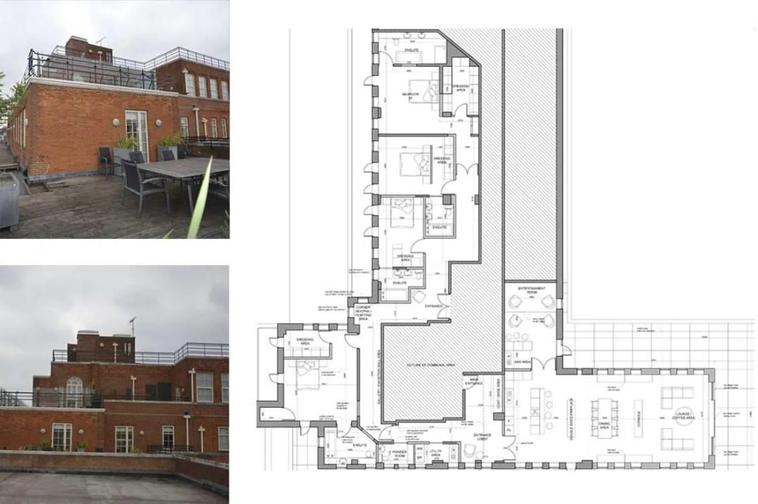 Architect designed penthouse extension Pimlico Westminster SW1P Floor plan Pimlico, Westminster SW1P | Penthouse extension and alterations