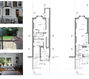 Architect designed rear flat extension Chalk Farm Camden NW5 Design plans 300x266 Chalk Farm, Camden NW5 | Rear flat extension