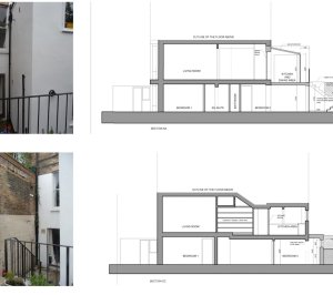 Architect designed rear flat extension Chalk Farm Camden NW5 Design sections 300x266 Chalk Farm, Camden NW5 | Rear flat extension