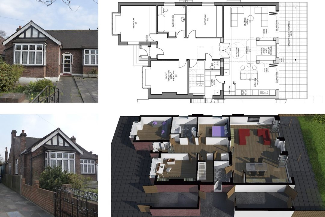 Architect designed residential extension Stoneleigh KT17 – Proposed floor plan 1200x800 Stoneleigh KT17 | Extension and alterations to a bungalow