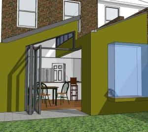 Barnes Richmond SW14 – Rear house kitchen extension – 3D image copy 300x266 Barnes, Richmond SW14 | Rear house kitchen extension